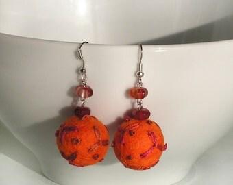 Orange earrings, felt earrings, embroidered earrings, wool earrings, semiprecious  -cornelians, dangle earrings