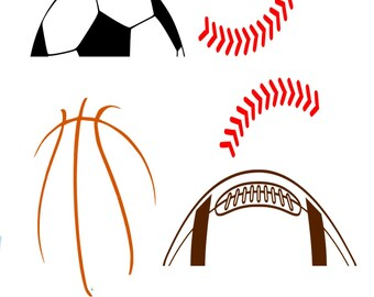 Basketball SVG, Baseball, Football, Soccer SVG Dxf Eps Png Studio3 Silhouette Studio, Cricut Design Space cutting machines. Instant Download