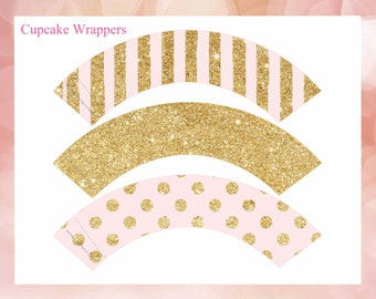 Cupcake Wrappers  pink and gold, glitter cupcake wrappers, cupcake wrappers printable, Digital File.