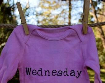Pink Wednesday Onesie, size 3-6 mos