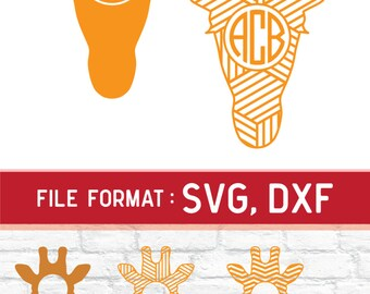 6 Patterns Giraffe Monogram SVG Files for Cricut Die Cut Machine, Giraffe DXF Files, Giraffe SVG Giraffe Dxf Cutting Files, Instant Download