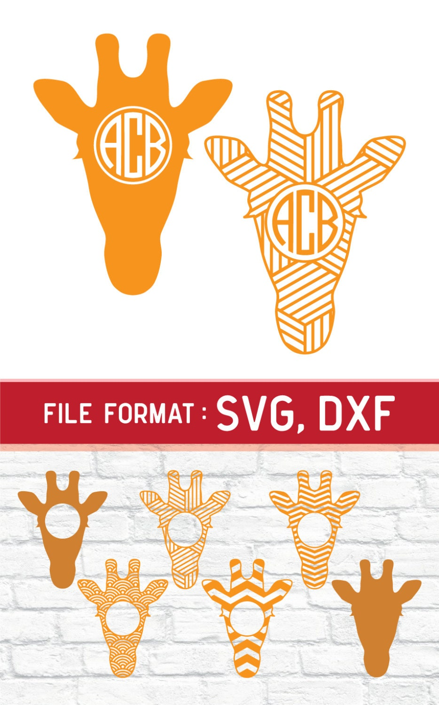 Giraffe Monogram Svg Files For Cricut Die Cut Machine Vinyl