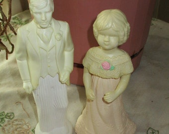 2 Avon Doll Decanters, Proud Groom and Adorable Abigail, both full, sweet honestly cologne