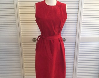 1970s red ultra suede wrap dress with belt