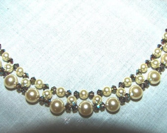 Beaded Necklace Pearl and Swarovski Crystal Wedding Jewelry