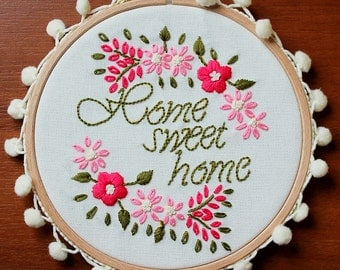 Home Sweet Home, Wall or Door Hanging Embroidery Hoop Art, Fabric Wall Hanging, Needlepoint, Hand Embroidery, Stitched Art