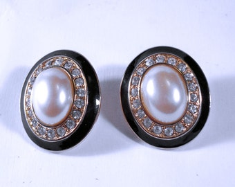 Vintage MONET Faux Pearl and Clear Rhinestone Pierced Earrings U3224 Designer Signed