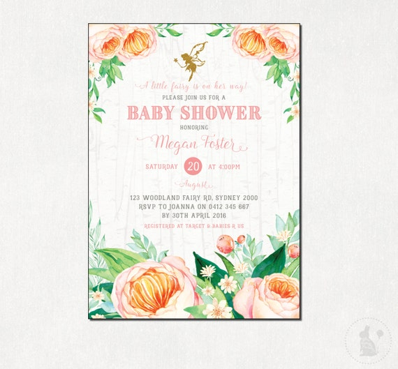 FAIRY Baby Shower Invitation Floral Shower Invite Watercolor
