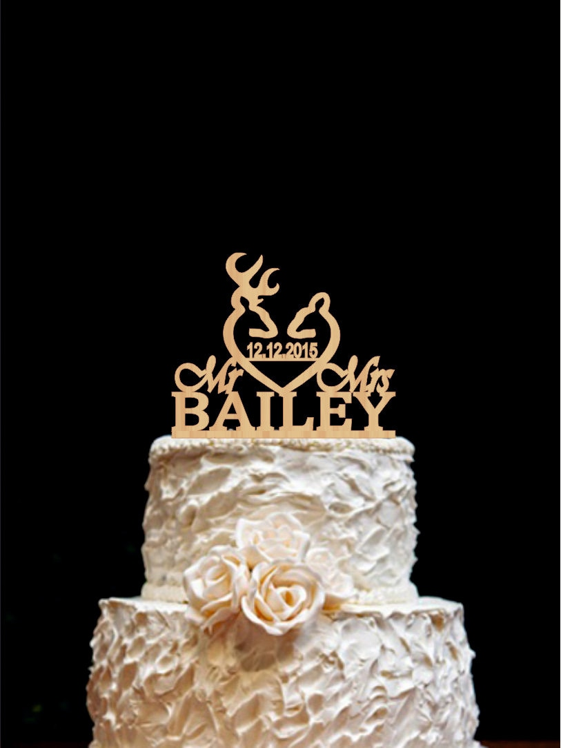 Rustic Wedding Cake Topper Deer Wedding Cake Topper Mr Mrs
