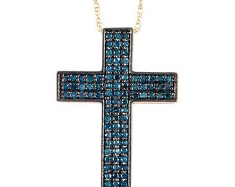 14k Solid Gold Genuine Natural Blue Diamond Cross Pendant, Blue Diamond Pendant, Diamond Cross Pendant