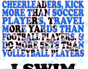 I Swim design: SVG, PNG cut files included for vinyl, paper, etc. for the Swimmer in you with or without competative sport