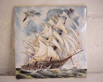 Vintage Ceramic Maritime Tile - Schooner on the High Seas