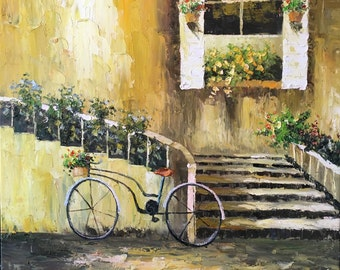 Staircase with Bicycle Oil Painting 40 in. x 40 in.