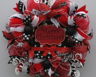 Christmas Wreath, Merry Christmas Wreath, Whimsical Christmas Wreath, Red & Black Christmas Wreath, Winter Wreath, Hoilday Wreath, X'mas