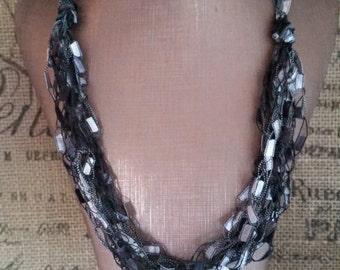 Hypoallergenic Grey Shades Multi Strand Crocheted Ladder/Ribbon Yarn Necklace