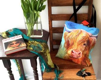 Colorful Highland Cow Canvas Tote Bag, Gym Bag, Craft Bag or School Bag