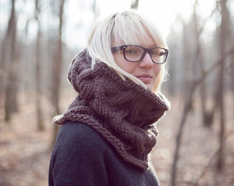 Cable Knit Cowl, Chocolate Brown Knit Scarf, Unisex Brown Snood