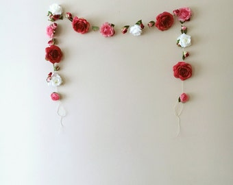 Flower garland, floral bunting 11 ft, Ready to ship, Rustic wedding decor, Vintage nursery decoration, Bridal garland, Peonies and roses