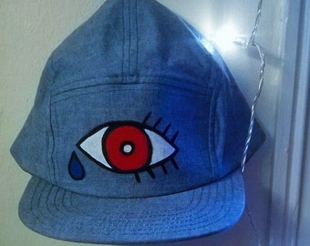 CRY ME A RIVER Hand Painted Denim Cap Trucker Hat (Limited Edition, One of a Kind) Pride Sale!