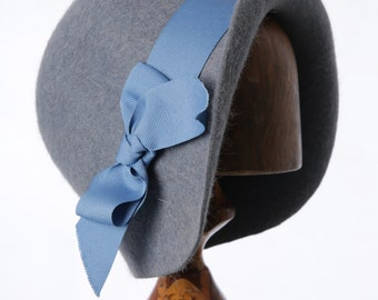 Miss Fisher Baby Blue Fur Felt 1920's Cloche Hat