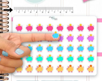 Clear Money Stickers Piggy Bank Stickers Pay Day Stickers Planner Stickers Erin Condren Functional Stickers Daily Chore Stickers NR733