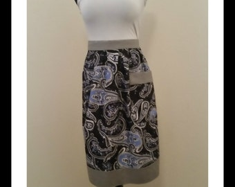 Half Apron in Blue Paisley with Charcoal Trim