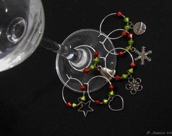 Christmas Wine Charms Set of 6