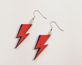 Bowie Bolt Earrings, David Bowie Lightning Bolt Dangle Earrings, Ziggy Stardust Jewlery