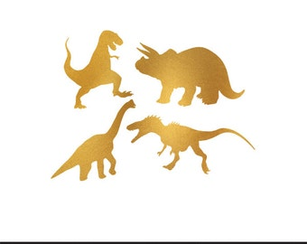 dinosaurs gold foil clip art svg dxf file instant download silhouette cameo cricut digital scrapbooking