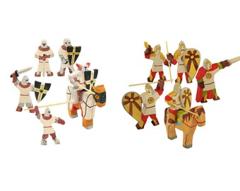 Knights set of 12 figures (crusaders and bogatyrs)
