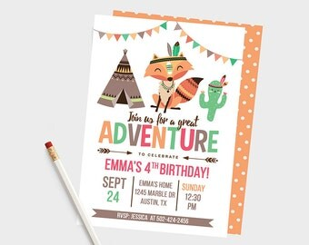 Great Adventure Invitations, Woodland Birthday Invitations, Animals Invitations, Fox Birthday Invitations, Tribal Invitations, Tribal Party