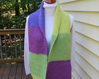 Color Block Scarf, Crochet Scarf, Winter Fashion, Winter Crochet Scarf, Wide Stripes Scarf