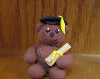 Polymer Clay Graduation Bear, Clay Teddy Bear, Clay Graduation Gift, Bear Figurine, Bear Sculpture, Clay Animal, Cute Miniature Teddy Bear