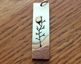 Lonely Tree Rectangular Pendant