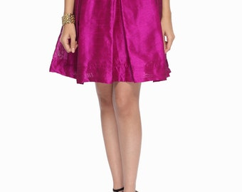 Magenta High Waisted Pleated Skirt