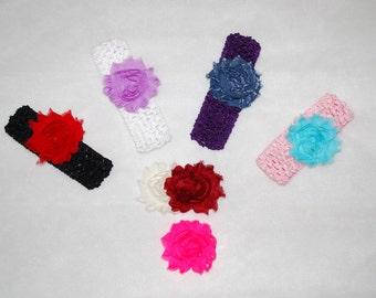 Crochet Headbands with Interchangeable Shabby Flower Clips