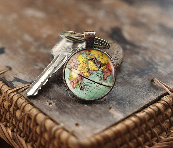World map globe keychain earth keychain globe keychain map like this item sciox Images
