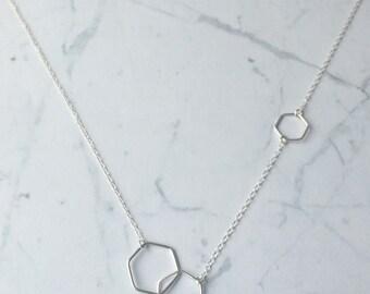 Hexagon Asymmetric Honeycomb Chain Necklace, Minimal, Geometric, contemporary, simple, stylish, modern, clean lines,