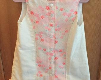 Girls Dress/Jumper/Size 3/Vintage Japanese Juban Fabric/Linen/OOAK