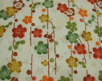 77: Japanese kimono/rayon/fabric/flower/green/red/yellow/orange/ume/cloud/cream/handmade/material