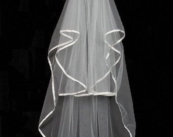 2 Satin Ribbon Wedding Veil