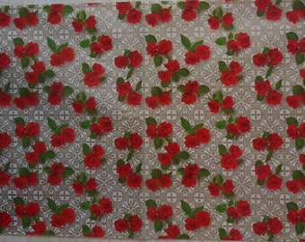Vintage 1970's Red Roses Floral Gift Wrapping Paper - Any All Occasion - 1 Full Unused Sheet Gift Wrap Paper