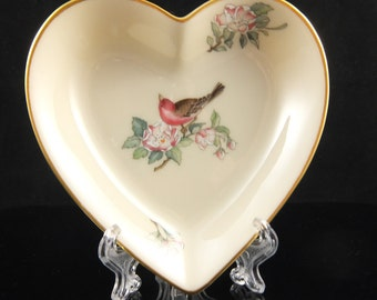 LENOX Serenade Heart Shaped Dish with 24k Gold Trim, Bird and Flowers