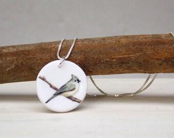 Bird necklace, songbird necklace, tufted titmouse, bird pendant, songbird pendant, bird charm, nature jewelry, Christmas jewelry, winter