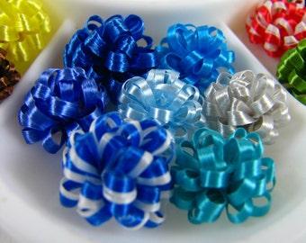 Miniature Dollhouse Package Bows-Set of 7 Blues Bows-Stickable Ribbon-7 Bows