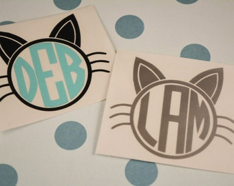 Cat Monogram Decal, Monogrammed Cat Decal, , Car decal, Phone Decal, Laptop Decal, MacBook Decal, Yeti Decal, Yeti Sticker,