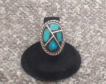 Sterling Silver and Inlaid Turquoise Ring