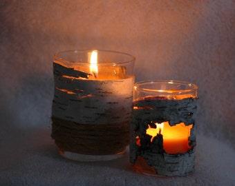 birch bark candle holders