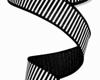 "1.5""X 10 yards Horizontal Stripes/Royal  Black/White RG178002"