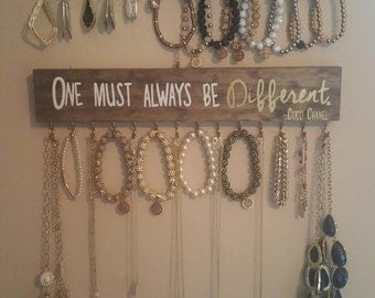 "Wooden Jewelry Holders ""In Order to Be Irreplaceable One Must be Different"" -Coco Chanel"